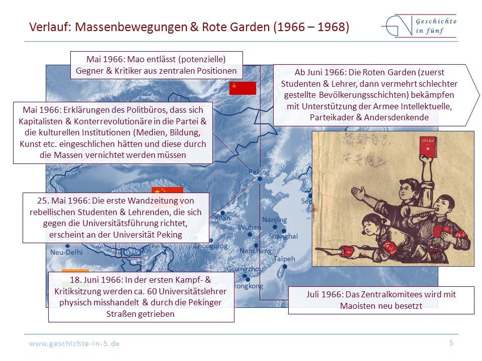 www.geschichte-in-5.de Verlauf: Massenbewegungen & Rote Garden (1966 – 1968) 5 Peking Tokyo Hongkong Shanghai Guangzhou Seoul Nanjing Nanchang Ya'an X