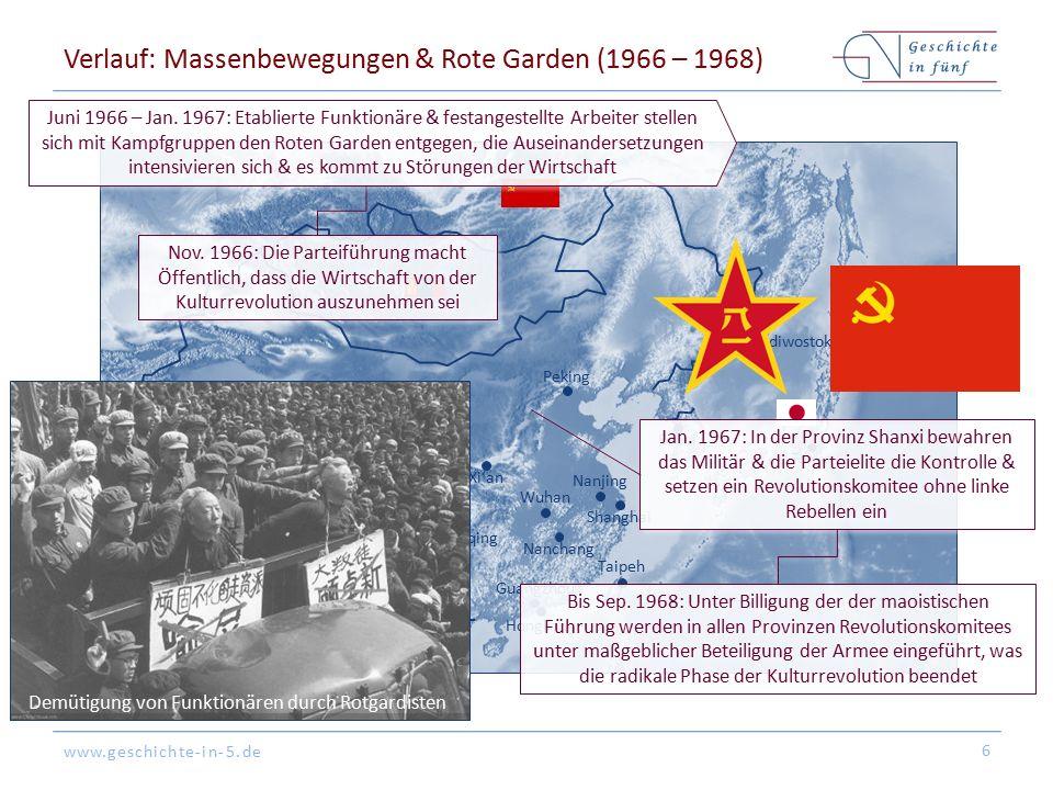 www.geschichte-in-5.de Verlauf: Massenbewegungen & Rote Garden (1966 – 1968) 6 Peking Tokyo Hongkong Shanghai Guangzhou Seoul Nanjing Nanchang Ya'an Xi'an Chongqing Taipeh Wuhan Neu-Delhi Wladiwostok Nov.