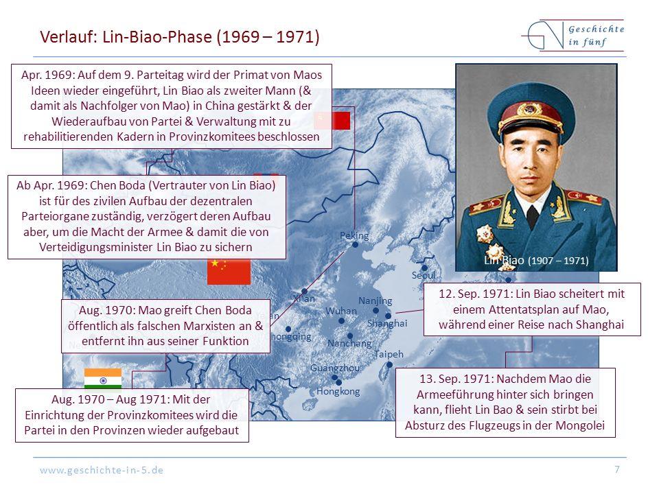 www.geschichte-in-5.de Verlauf: Lin-Biao-Phase (1969 – 1971) 7 Peking Tokyo Hongkong Shanghai Guangzhou Seoul Nanjing Nanchang Ya'an Xi'an Chongqing Taipeh Wuhan Neu-Delhi Wladiwostok Apr.
