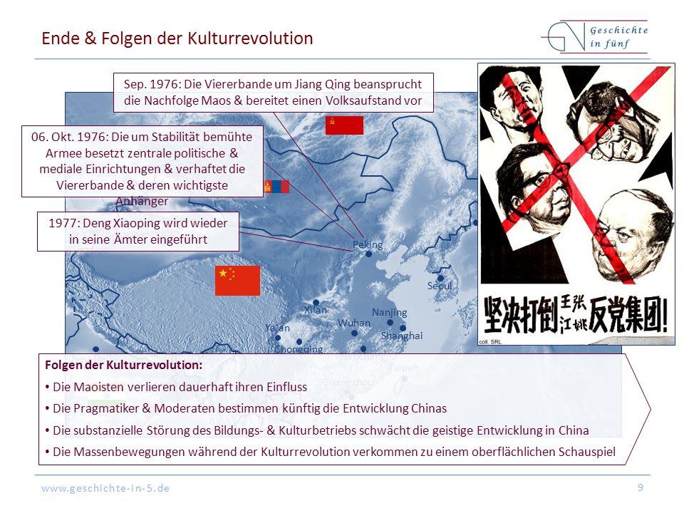 www.geschichte-in-5.de Ende & Folgen der Kulturrevolution 9 Peking Tokyo Hongkong Shanghai Guangzhou Seoul Nanjing Nanchang Ya'an Xi'an Chongqing Taipeh Wuhan Neu-Delhi Wladiwostok Sep.