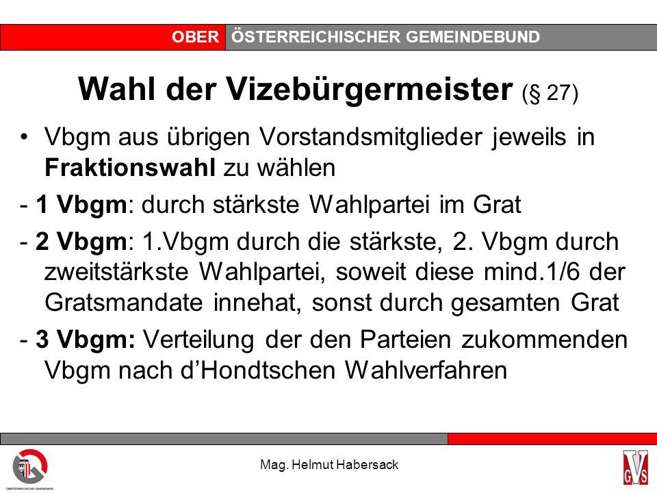 OBERÖSTERREICHISCHER GEMEINDEBUND Wahl der Vizebürgermeister (§ 27) Vbgm aus übrigen Vorstandsmitglieder jeweils in Fraktionswahl zu wählen - 1 Vbgm: