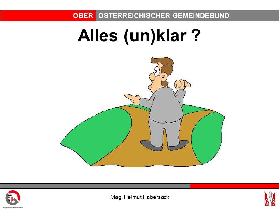 OBERÖSTERREICHISCHER GEMEINDEBUND Alles (un)klar ? Mag. Helmut Habersack