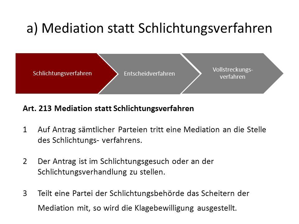 a) Mediation statt Schlichtungsverfahren Schlichtungsverfahren Entscheidverfahren Vollstreckungs- verfahren Art.