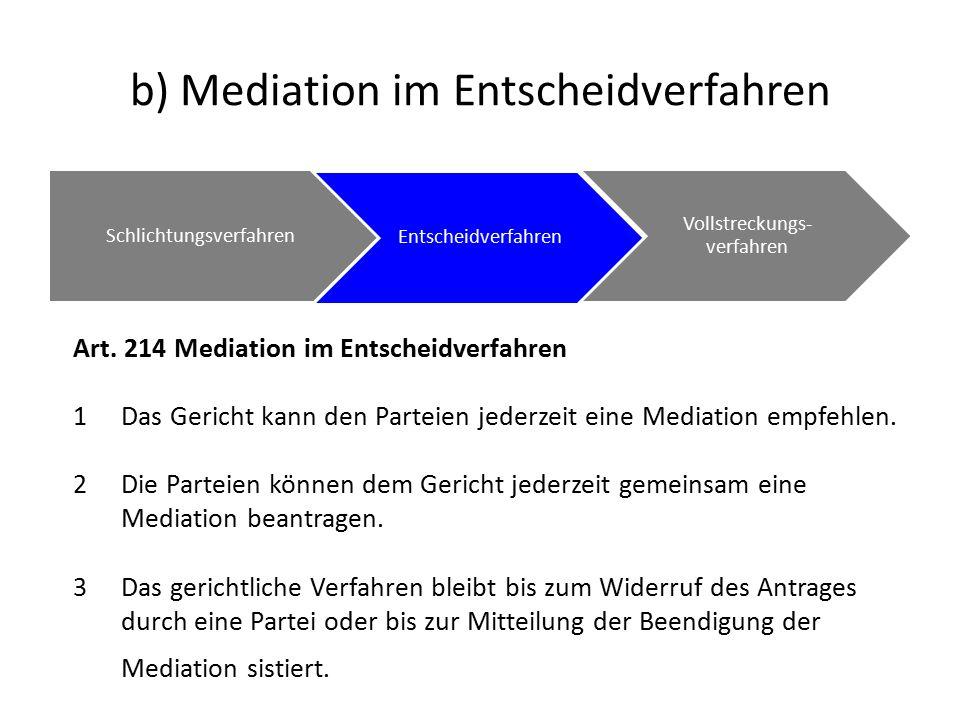 b) Mediation im Entscheidverfahren Schlichtungsverfahren Entscheidverfahren Vollstreckungs- verfahren Art.