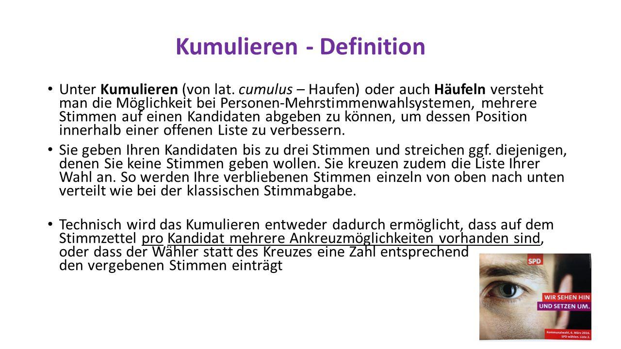Kumulieren - Definition Unter Kumulieren (von lat.