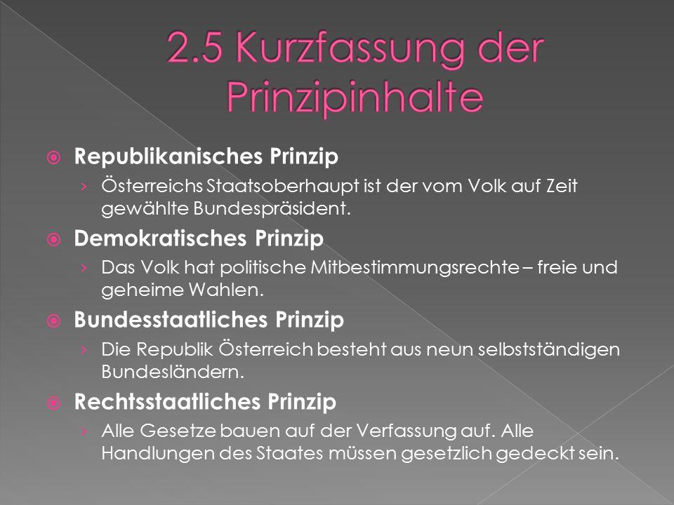  Republikanisches Prinzip › Österreichs Staatsoberhaupt ist der vom Volk auf Zeit gewählte Bundespräsident.
