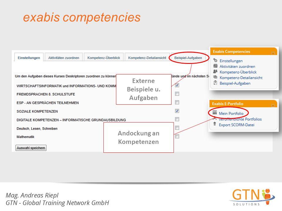 exabis competencies Andockung an Kompetenzen Externe Beispiele u. Aufgaben
