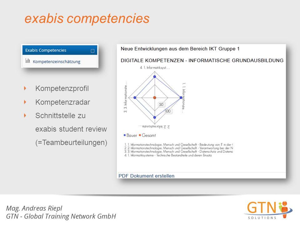 Kompetenzprofil Kompetenzradar Schnittstelle zu exabis student review (=Teambeurteilungen)