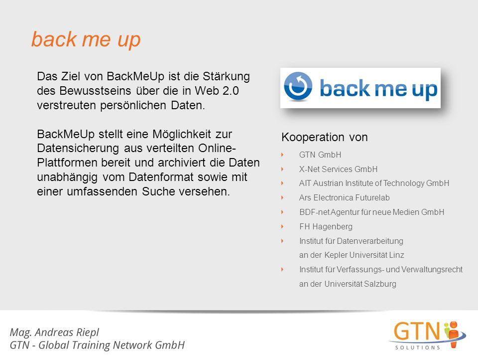 back me up Das Ziel von BackMeUp ist die Stärkung des Bewusstseins über die in Web 2.0 verstreuten persönlichen Daten.