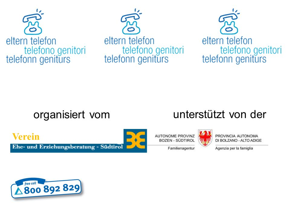 Kontakt E-Mail Beratung: consulenza@telefonogenitori.it beratung@elterntelefon.it Telefonische Beratung: Mo./lun.