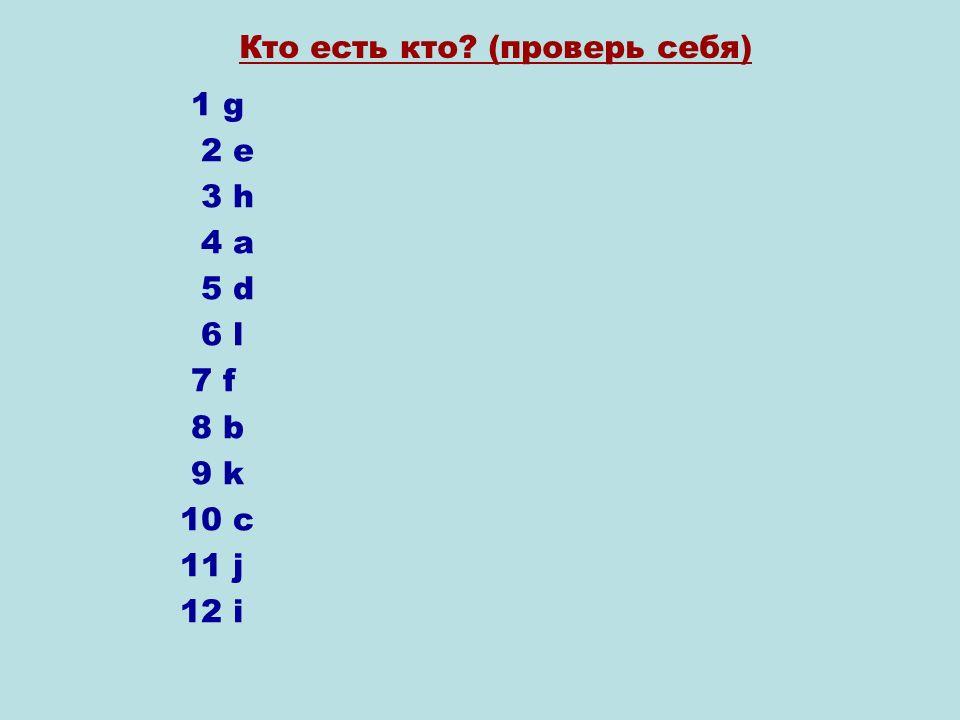 1 g 2 e 3 h 4 a 5 d 6 l 7 f 8 b 9 k 10 c 11 j 12 i Кто есть кто (проверь себя)