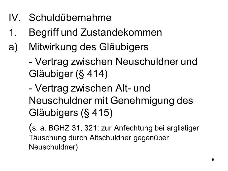 8 IV.Schuldübernahme 1.Begriff und Zustandekommen a)Mitwirkung des Gläubigers - Vertrag zwischen Neuschuldner und Gläubiger (§ 414) - Vertrag zwischen Alt- und Neuschuldner mit Genehmigung des Gläubigers (§ 415) ( s.