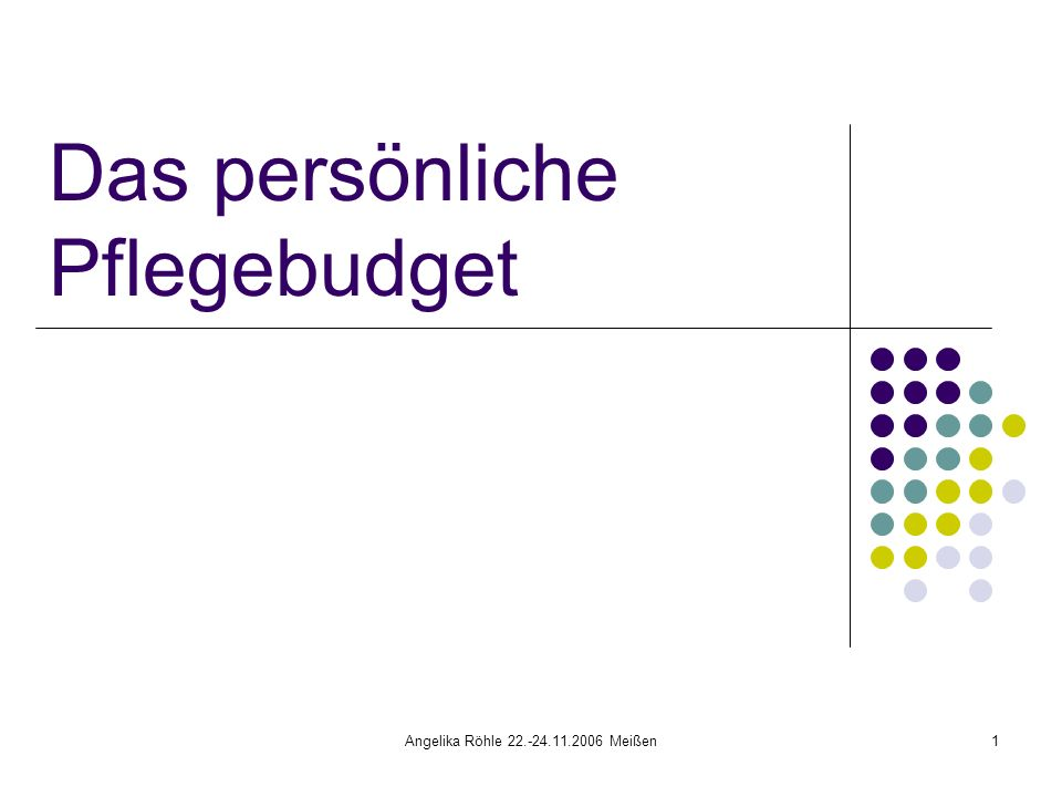 Angelika Röhle 22.-24.11.2006 Meißen1 Das persönliche Pflegebudget