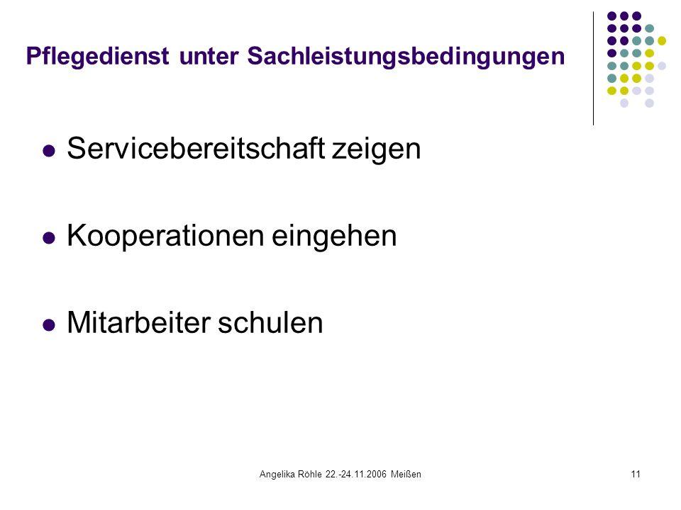 Angelika Röhle 22.-24.11.2006 Meißen11 Pflegedienst unter Sachleistungsbedingungen Servicebereitschaft zeigen Kooperationen eingehen Mitarbeiter schulen