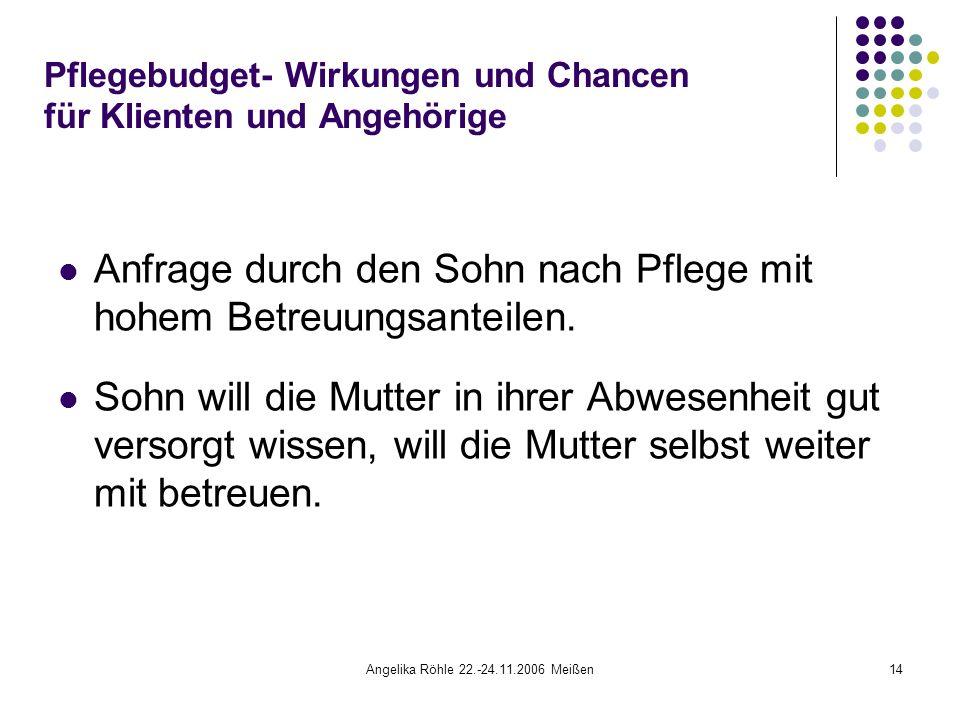 Angelika Röhle 22.-24.11.2006 Meißen14 Pflegebudget- Wirkungen und Chancen für Klienten und Angehörige Anfrage durch den Sohn nach Pflege mit hohem Betreuungsanteilen.