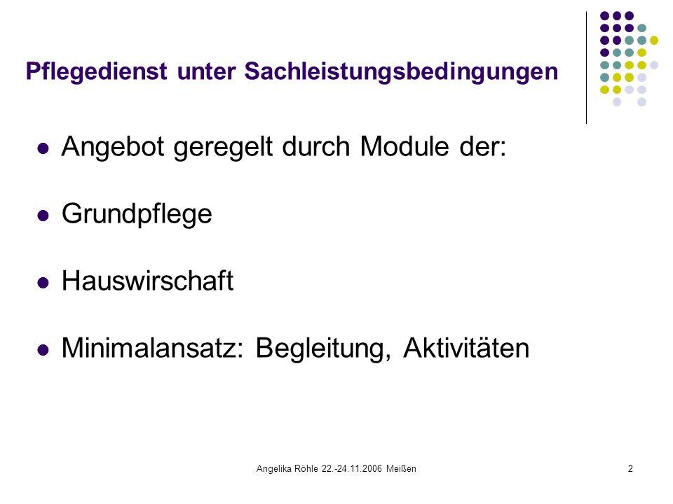 Angelika Röhle 22.-24.11.2006 Meißen3 Pflegedienst unter Sachleistungsbedingungen Problem: Module sind definiert und zeitlich begrenzt Es entstehen nicht finanzierte Fehleinsätze, die nicht in jedem Fall über den Pflegevertrag zu regeln sind.