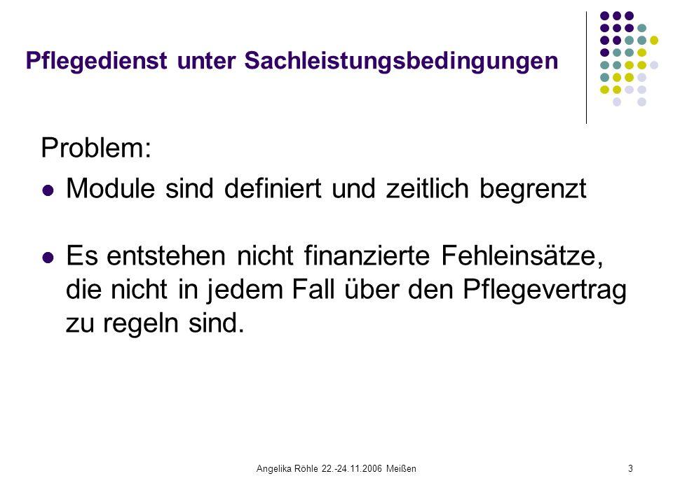 Angelika Röhle 22.-24.11.2006 Meißen34 Pflegebudget- Wirkungen und Chancen für den Pflegedienst Die Klientin ist nicht nur im Budget, sondern auch in der Versorgung eines Pflegedienstes geblieben.