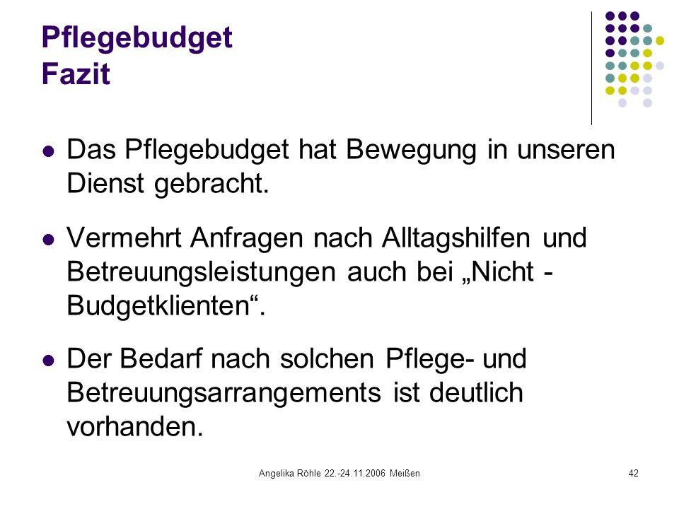 Angelika Röhle 22.-24.11.2006 Meißen42 Pflegebudget Fazit Das Pflegebudget hat Bewegung in unseren Dienst gebracht.