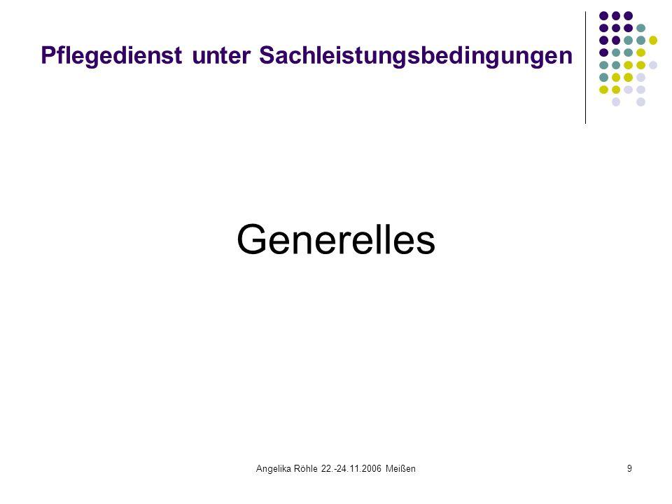 Angelika Röhle 22.-24.11.2006 Meißen9 Pflegedienst unter Sachleistungsbedingungen Generelles