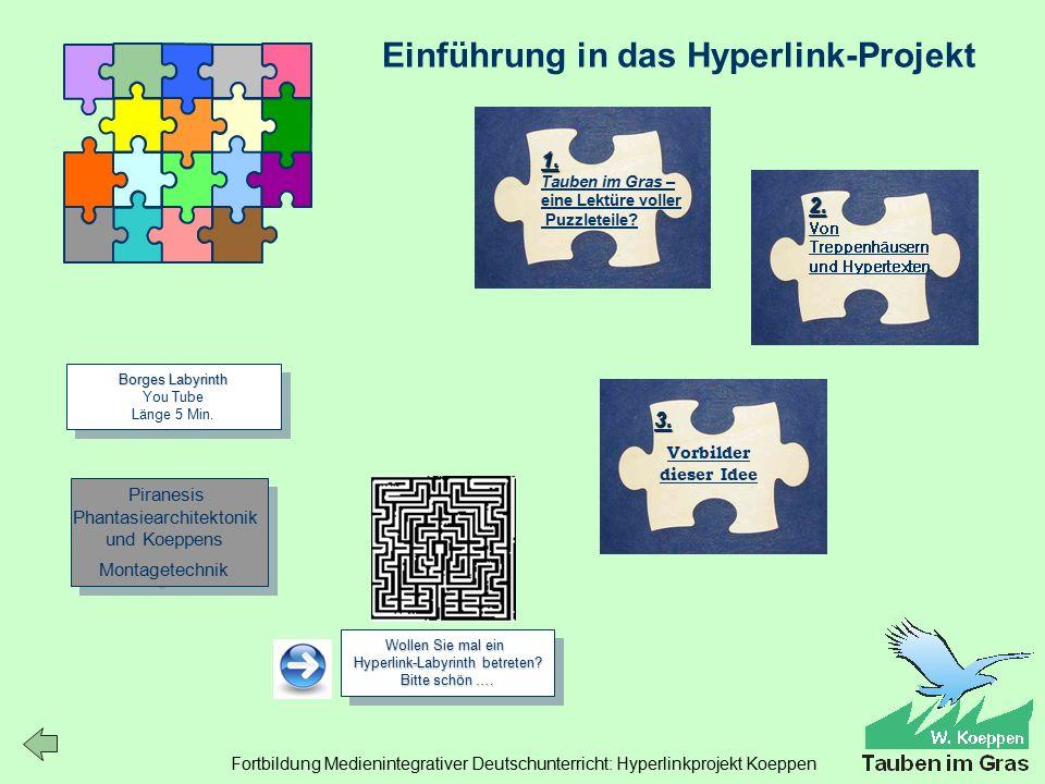 Fortbildung Medienintegrativer Deutschunterricht: Hyperlinkprojekt Koeppen Einführung in das Hyperlink-Projekt Borges Labyrinth Borges Labyrinth You Tube Länge 5 Min.