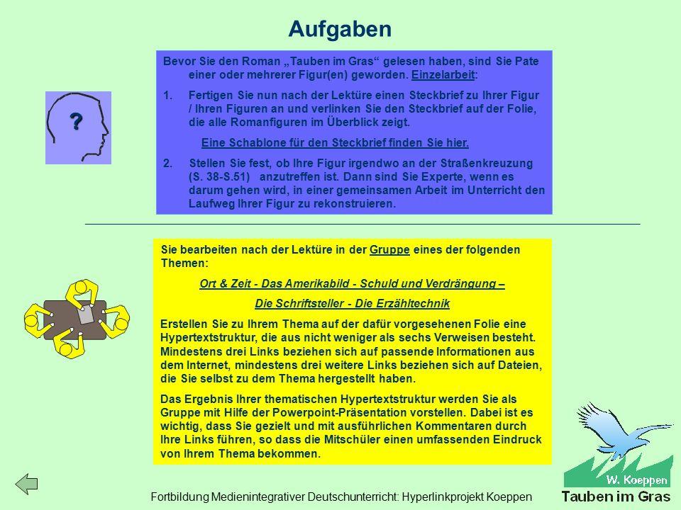 Fortbildung Medienintegrativer Deutschunterricht: Hyperlinkprojekt Koeppen Aufgaben .