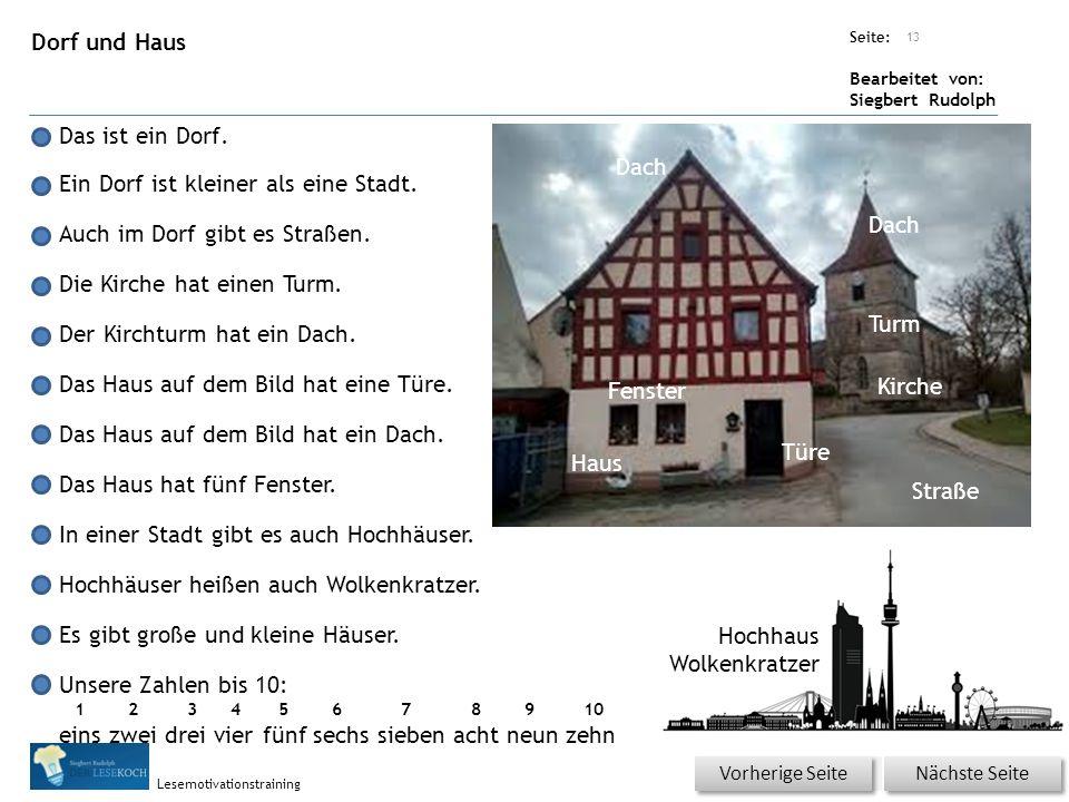 Übungsart: Seite: Bearbeitet von: Siegbert Rudolph Lesemotivationstraining Dorf und Haus Das ist ein Dorf.