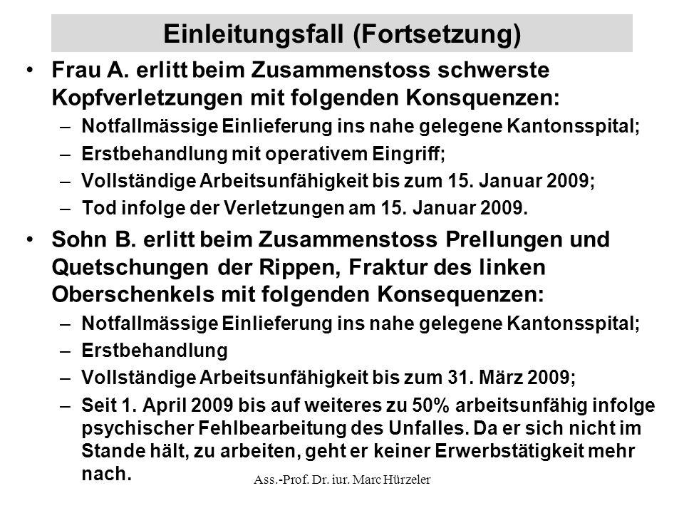 Einleitungsfall (Fortsetzung) Frau A.