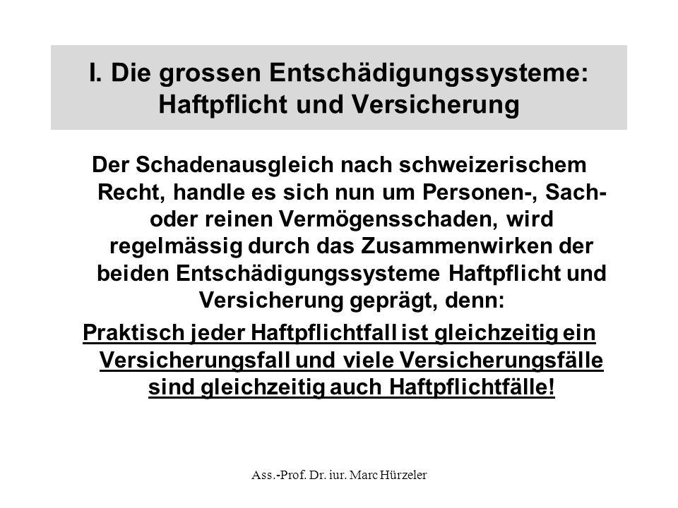 I. Die grossen Entschädigungssysteme: Haftpflicht und Versicherung Der Schadenausgleich nach schweizerischem Recht, handle es sich nun um Personen-, S