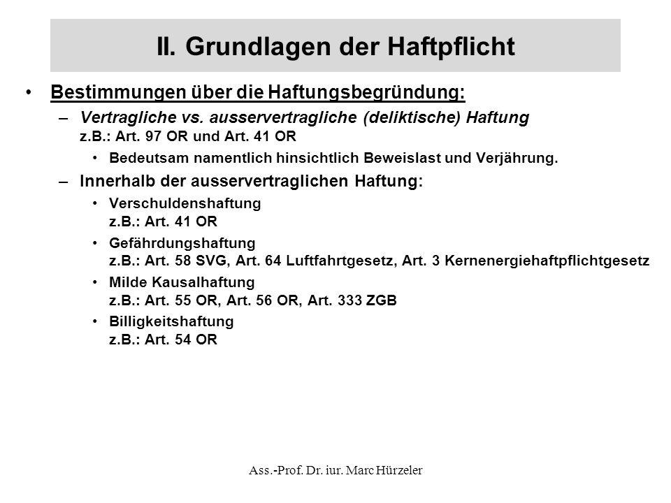 II.Grundlagen der Haftpflicht Fallbeispiel Verschuldenshaftung (BGE 82 II 25): Der 15-jährige A.