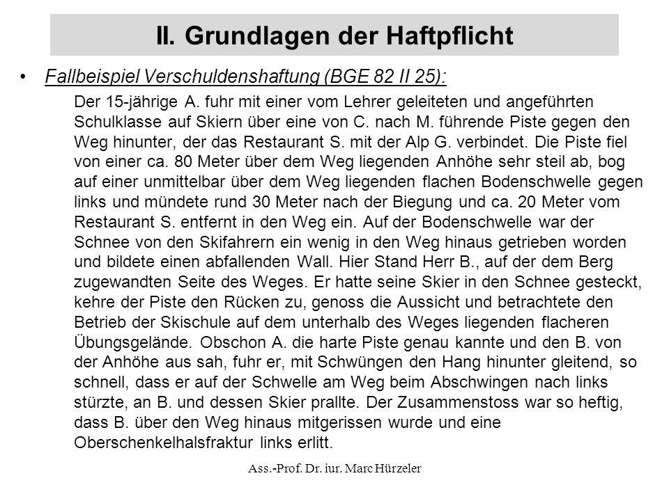 II. Grundlagen der Haftpflicht Fallbeispiel Verschuldenshaftung (BGE 82 II 25): Der 15-jährige A.