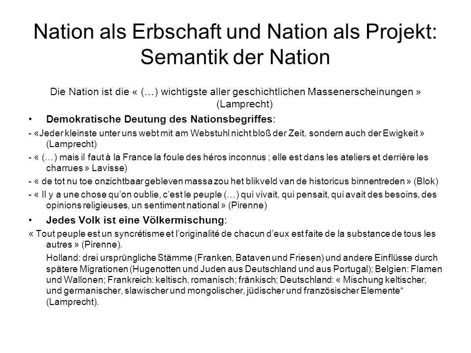 Nation als Erbschaft und Nation als Projekt: Semantik der Nation Die Nation ist die « (…) wichtigste aller geschichtlichen Massenerscheinungen » (Lamp