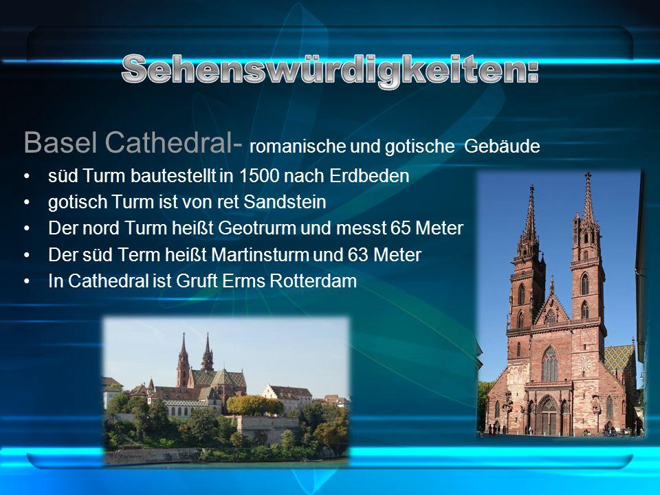 Basel Cathedral- romanische und gotische Gebäude süd Turm bautestellt in 1500 nach Erdbeden gotisch Turm ist von ret Sandstein Der nord Turm heißt Geotrurm und messt 65 Meter Der süd Term heißt Martinsturm und 63 Meter In Cathedral ist Gruft Erms Rotterdam