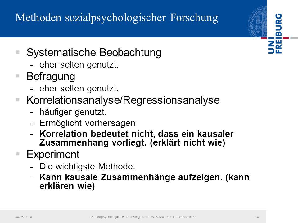 Methoden sozialpsychologischer Forschung  Systematische Beobachtung -eher selten genutzt.
