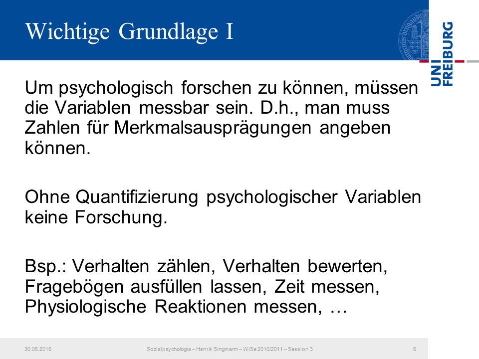 Wichtige Grundlage I Um psychologisch forschen zu können, müssen die Variablen messbar sein.