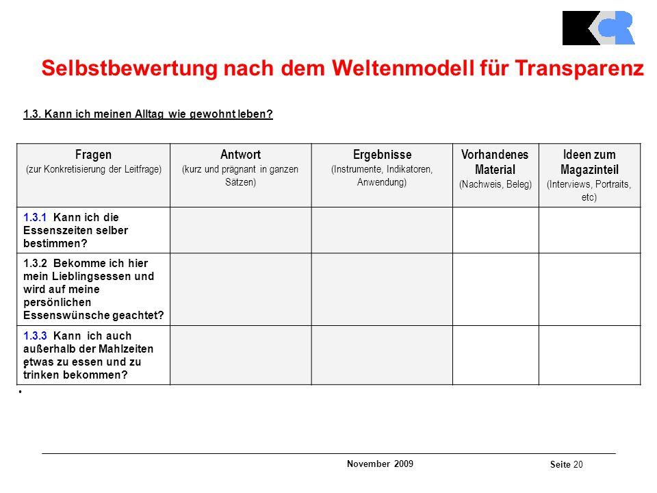November 2009 Seite 20 Selbstbewertung nach dem Weltenmodell für Transparenz 1.3.