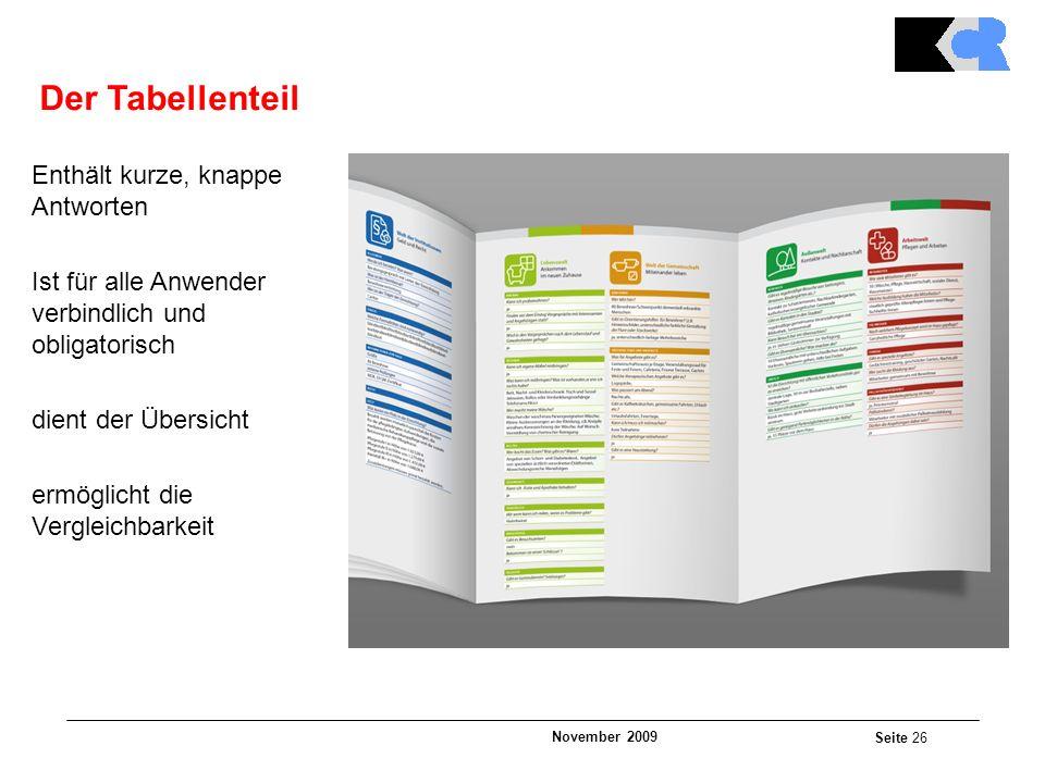 November 2009 Seite 26 Der Tabellenteil Enthält kurze, knappe Antworten Ist für alle Anwender verbindlich und obligatorisch dient der Übersicht ermöglicht die Vergleichbarkeit