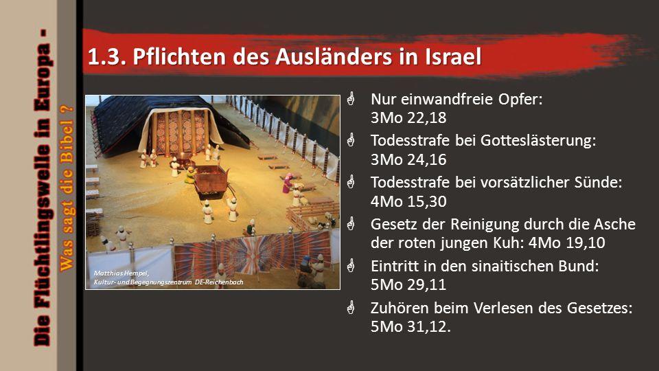 1.3. Pflichten des Ausländers in Israel  Nur einwandfreie Opfer: 3Mo 22,18  Todesstrafe bei Gotteslästerung: 3Mo 24,16  Todesstrafe bei vorsätzlich