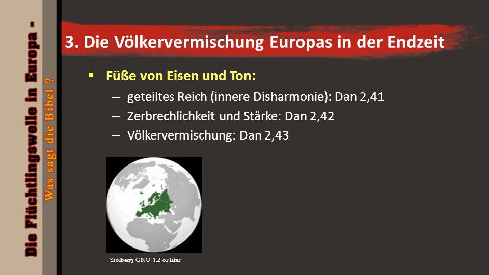 3. Die Völkervermischung Europas in der Endzeit  Füße von Eisen und Ton: – geteiltes Reich (innere Disharmonie): Dan 2,41 – Zerbrechlichkeit und Stär