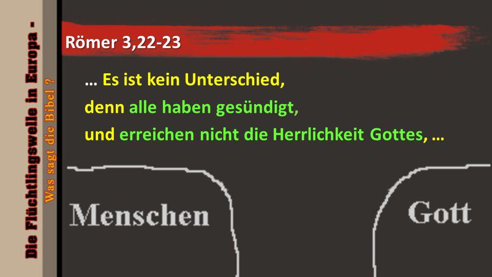 Römer 3,22-23 … Es ist kein Unterschied, denn alle haben gesündigt, und erreichen nicht die Herrlichkeit Gottes, …