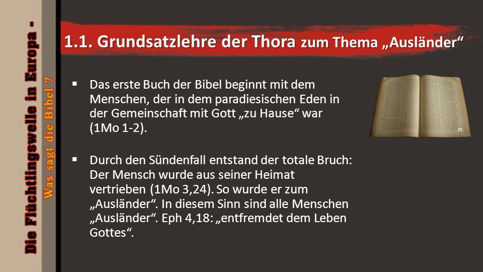 """1.1. Grundsatzlehre der Thora zum Thema """"Ausländer""""  Das erste Buch der Bibel beginnt mit dem Menschen, der in dem paradiesischen Eden in der Gemeins"""