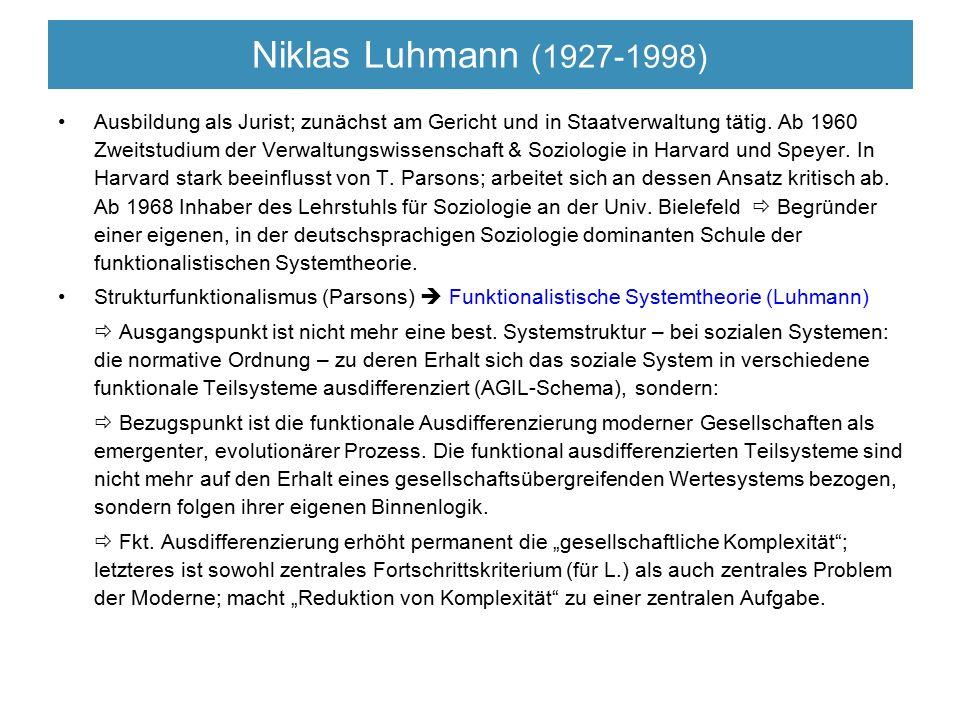 Niklas Luhmann (1927-1998) Ausbildung als Jurist; zunächst am Gericht und in Staatverwaltung tätig. Ab 1960 Zweitstudium der Verwaltungswissenschaft &