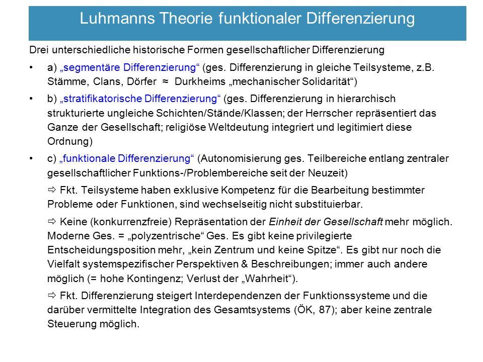"""Luhmanns Theorie funktionaler Differenzierung Drei unterschiedliche historische Formen gesellschaftlicher Differenzierung a) """"segmentäre Differenzieru"""