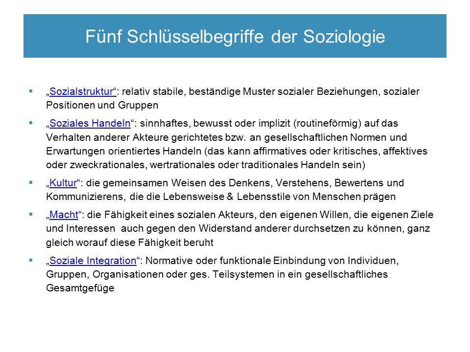 """Fünf Schlüsselbegriffe der Soziologie  """"Sozialstruktur"""": relativ stabile, beständige Muster sozialer Beziehungen, sozialer Positionen und Gruppen  """""""