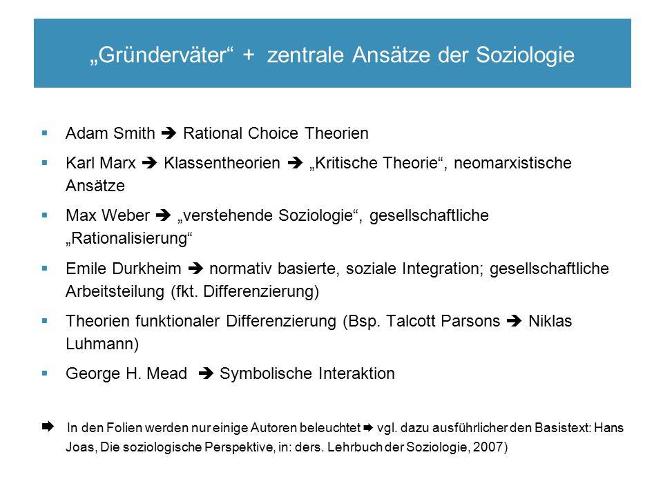 """ Adam Smith  Rational Choice Theorien  Karl Marx  Klassentheorien  """"Kritische Theorie"""", neomarxistische Ansätze  Max Weber  """"verstehende Soziol"""