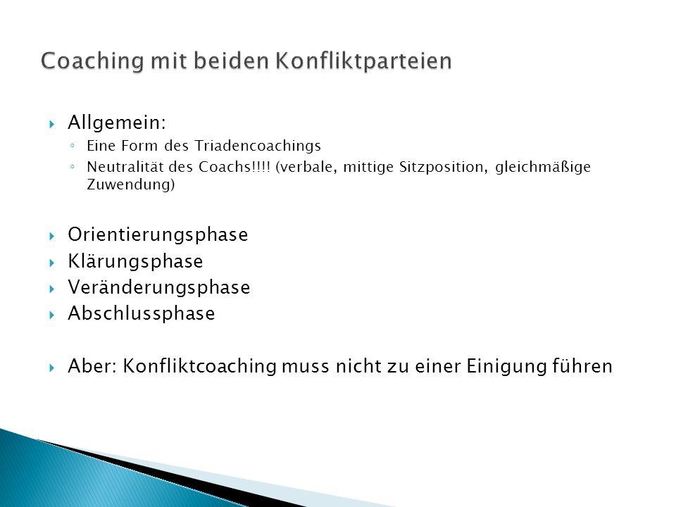  Allgemein: ◦ Eine Form des Triadencoachings ◦ Neutralität des Coachs!!!.