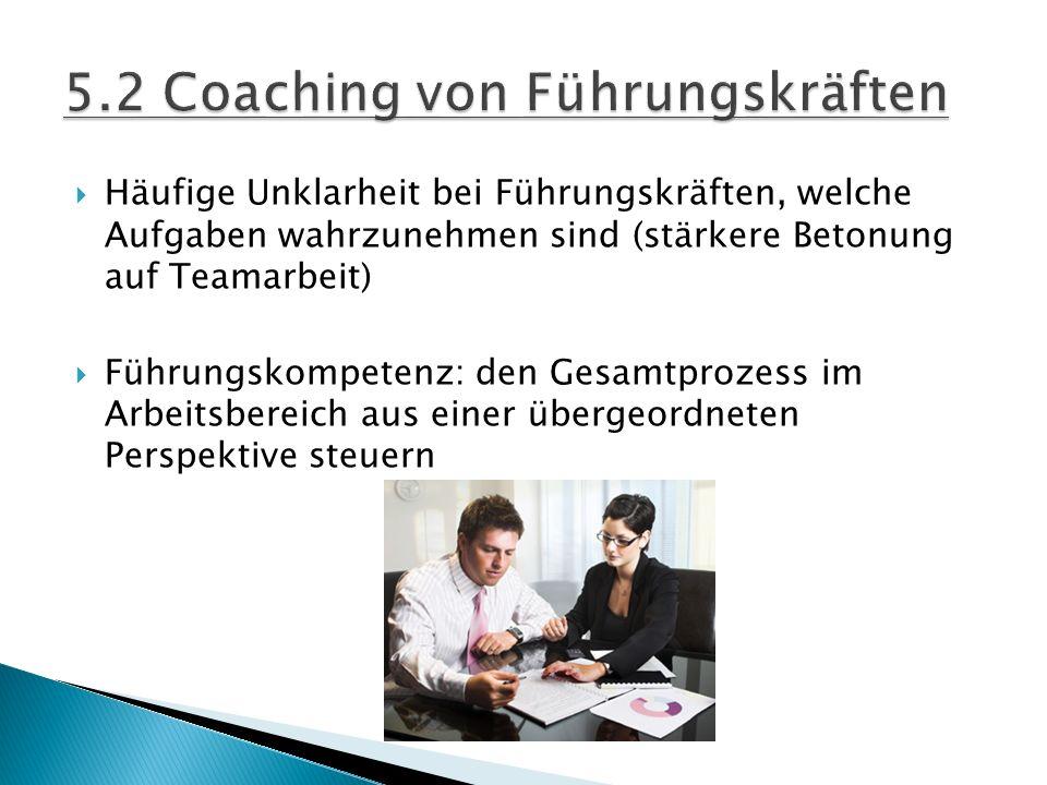  Häufige Unklarheit bei Führungskräften, welche Aufgaben wahrzunehmen sind (stärkere Betonung auf Teamarbeit)  Führungskompetenz: den Gesamtprozess im Arbeitsbereich aus einer übergeordneten Perspektive steuern