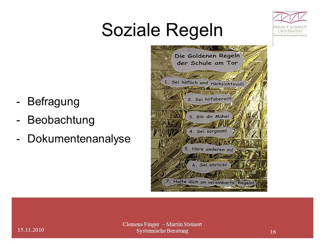 16 Soziale Regeln Clemens Finger – Martin Steinert Systemische Beratung 15.11.2010 - Befragung -Beobachtung -Dokumentenanalyse