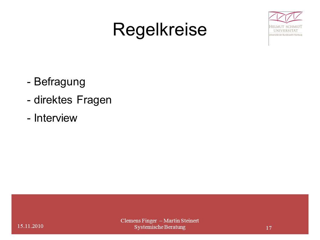 17 Regelkreise Clemens Finger – Martin Steinert Systemische Beratung 15.11.2010 - Befragung - direktes Fragen - Interview