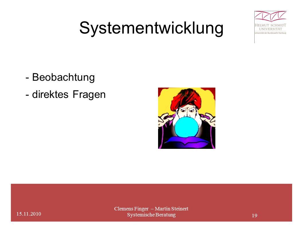 19 Systementwicklung Clemens Finger – Martin Steinert Systemische Beratung 15.11.2010 - Beobachtung - direktes Fragen