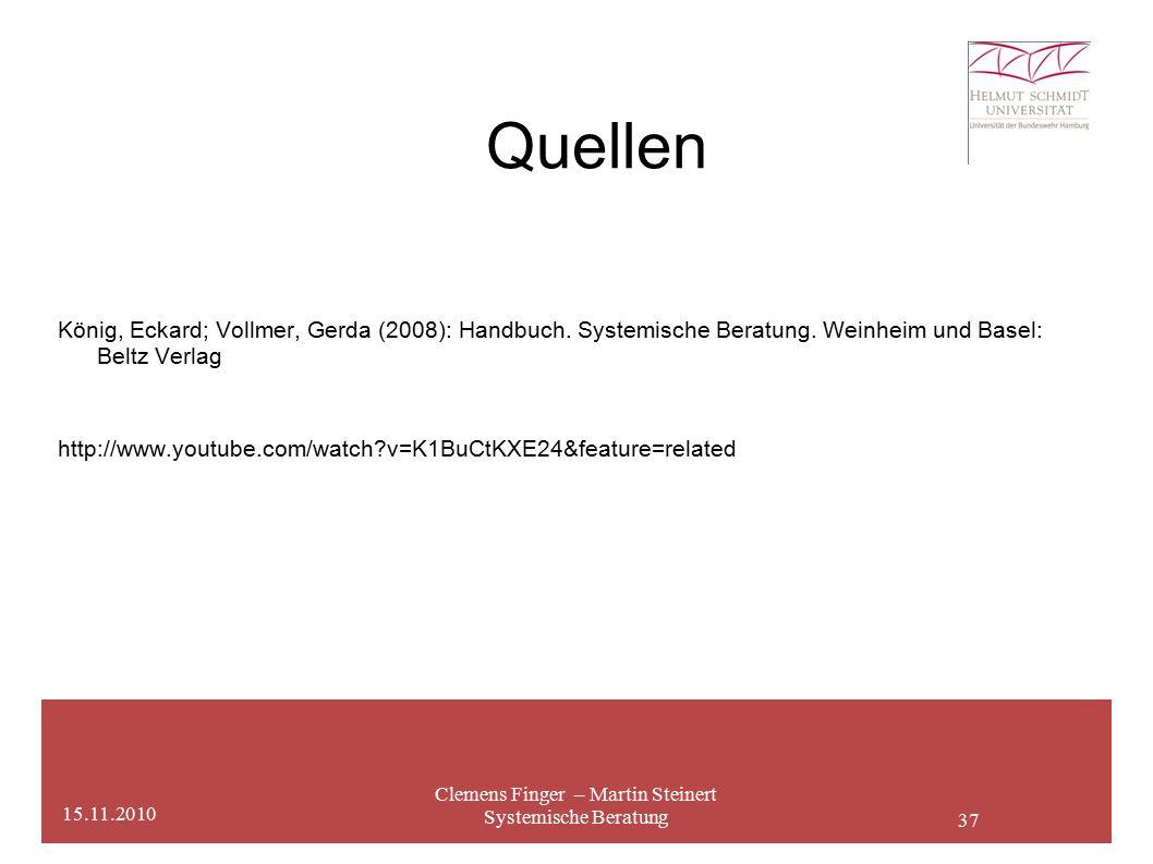 37 Quellen Clemens Finger – Martin Steinert Systemische Beratung 15.11.2010 König, Eckard; Vollmer, Gerda (2008): Handbuch.